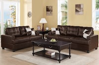 New espresso leather couch And love Seat Set