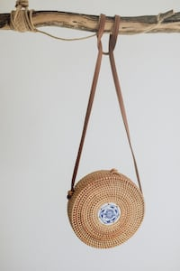 Rattan Round Summer Handmade Bag with Ceramic detail. Visit us at GloMade .com for more exclusive handmade designs.   Anaheim, 92805