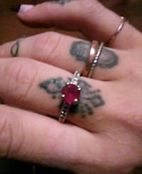 silver and red gemstone ring Edmonton, T5T