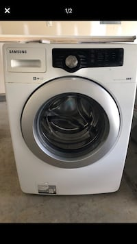 white Samsung front-load clothes washer Clayton, 27527