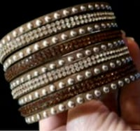 Brown Leather Rhinestone Snap Bracelet  Brampton, L6T 3L5