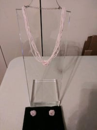 Pink Beaded Necklace and Knot earrings Set  Columbia, 21046