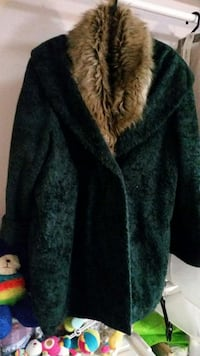 women's green and brown fur jacket