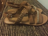 Brown leather belt with silver buckle Sandals  Toronto, M3J 3E9