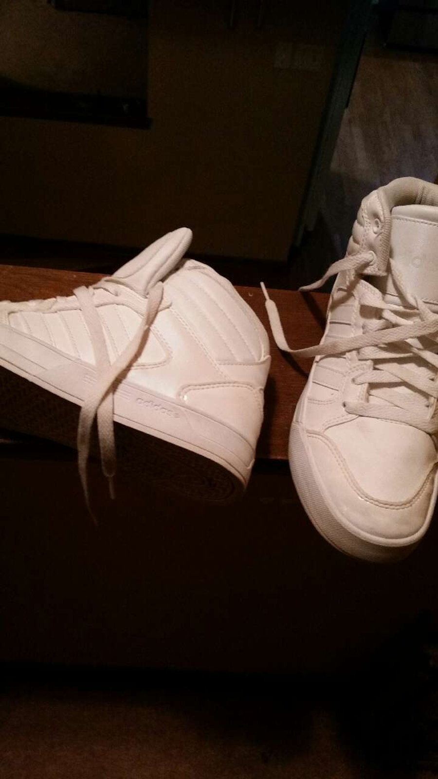 white mid lace up shoes