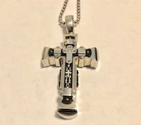 Black & Blue Jeweler Stainless steel cross with diamond Center . Was originally $125 Washington, 20002