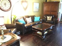 Two leather chairs 1 couch very comfy and well made coffee table and side table included  Claremont, 91711