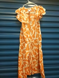 Ann Taylor 100% silk size 8 peaches and cream dress drawstring on wais Hyattsville, 20784