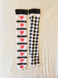 Hearts & Checkered thigh high stockings Montreal, H3G 1M8