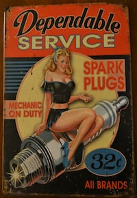 """NEW Metal sign - Pinup Dependable Service  ~12x8"""""""