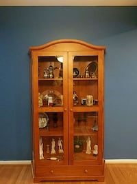 wood cabinet display with glass doors
