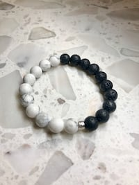 NEW Stone Bracelet Howlite and Lava Bead