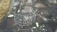 Vintage metal wire Folding laundry basket on wheel