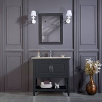 "36"" Bathroom Vanity Single Sink Cabinet in Gray with Open Shelf with Carrara Marble New in Box! Arlington"