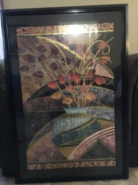 Black wooden framed painting of vase  Winnipeg, R2C 3L3