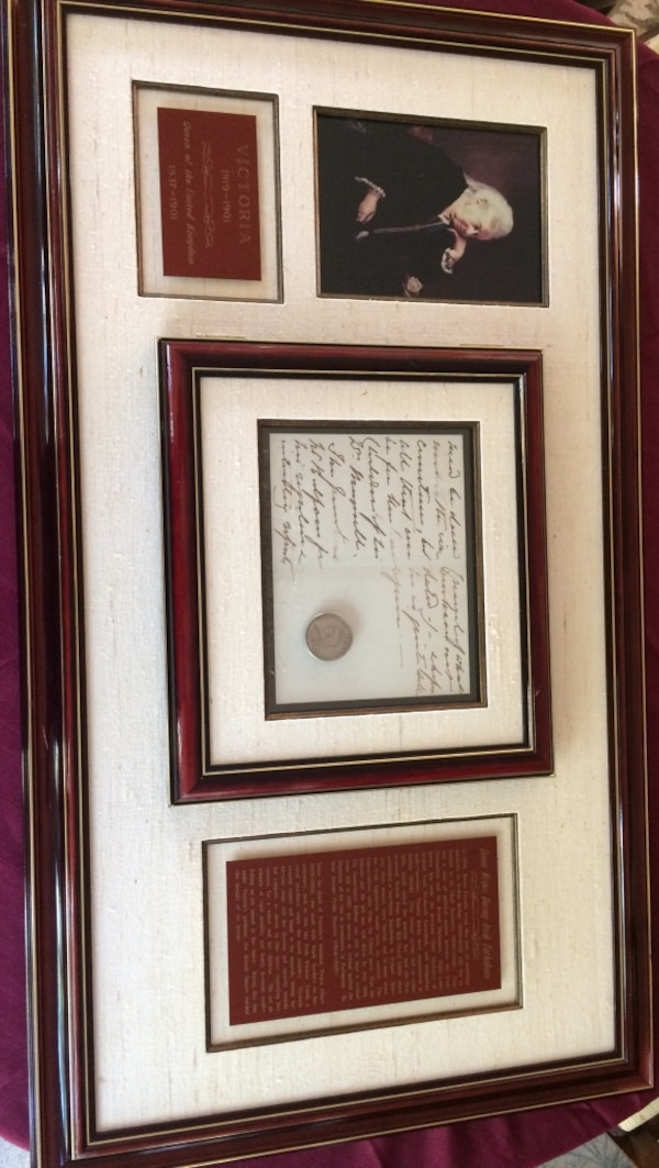 Used Victoria portrait and letter plaque with brown frame Silver ...