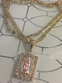 "18k GPL Virgin Mary Pendant With Mariner Chain Necklace 24"" 5mm Nashville"