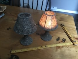 Silver beaded candle holders