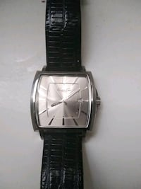 square silver analog watch with black leather strap Mount Rainier, 20712