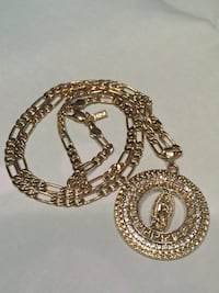 18k GPL Virgin Mary Medallion Pendant With Figaro Chain Necklace