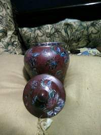 Nice Chinese vase with lid it's 91/2 ins high Rickman, 38580