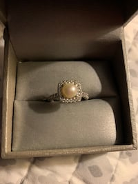 Zales white sapphire and pearl ring