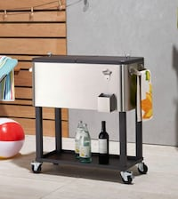 New Trinity Stainless Steel Wheeled Cooler with Shelf Highland, 92346
