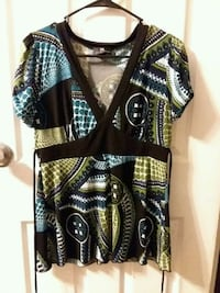 black, brown, and white tribal print blouse Oklahoma City, 73127