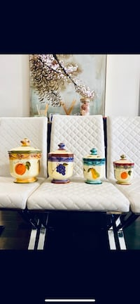 COLLECTIBLE MEDICI FRUIT HAND PAINTED CERAMIC CANISTER JAR SET OF 4