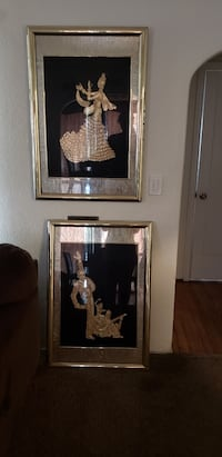 Two brown wooden framed painting of woman Fresno, 93705