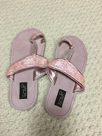 Pretty brand new suede and beaded flip flops / sandals size 7
