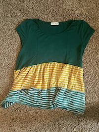 green, yellow, and white striped cap-sleeved blouse Fort Worth, 76110