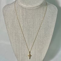 10k Yellow Gold Diamond Cross with 14k Over Sterling Silver Vermeil Chain Ashburn, 20147