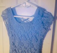 Women's light blue sheer Fitted short mini dress size small like new! Mount Airy