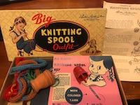 Vintage knitting spool sets. 1 wooden 1 plastic Elizabeth, 15037