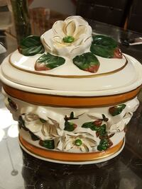 white floral ceramic cookie jar Hamilton