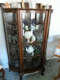 brown wooden framed glass display cabinet NEWYORK