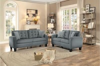 Grey Sofa Loveseat With Pillow Soft Seat For Living Room Houston
