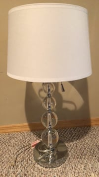 stainless steel base white shade table lamp Saint James, 11780