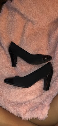 pair of black leather peep-toe platform stilettos 21 mi