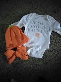 white if you got it haunt it onesie with orange knit cap Sterling