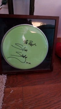 green drum head Signed by Eminem with paper work Hartford, 12838