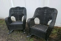 two black wicker armchairs with ottoman Largo, 33773