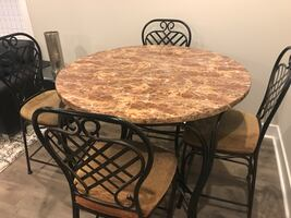 100% marble countertop dinning set with 4 chairs