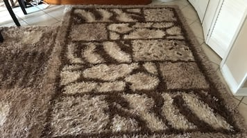Brown and gray area rug
