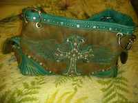 brown and green leather crossbody bag Plant City, 33565