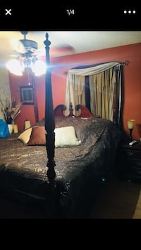 Bed Frame (Brown Wooden Rice Bed Frame)  Metairie, 70001