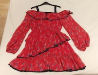 Chiffon Red Navy floral summer off shoulder swing Dress Size S Manchester, M4