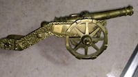 Vintage Solid Brass Mini Cannon Made in Portugal - Rare and Collectible  Measurements and weight:    Length from Tip of Canon to base - 11.75 inches  -  30 cm Highest point at tip of canon - 4 inches - 10 cm Total Weight:                         -  4.1 lb