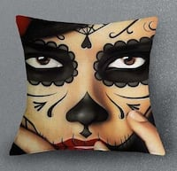 Day of the Dead Face Linen Pillow Cover with Pillow Insert new Mission, V4S 1M4